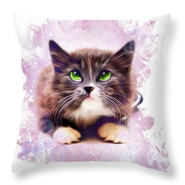 Spice Kitty Throw Pillow by Kathy Kelly