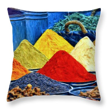 Spice Market In Casablanca Throw Pillow by Dominic Piperata