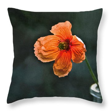 Spicy Red Poppy Throw Pillow