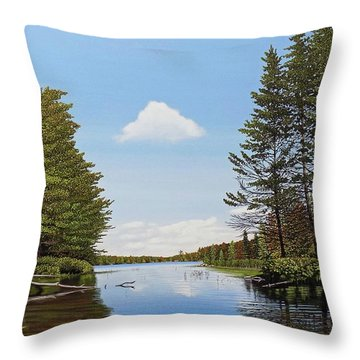 Throw Pillow featuring the painting Spider Lake Pond by Kenneth M Kirsch