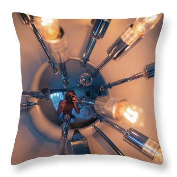 Throw Pillow featuring the photograph Spider Light Reflected Portrait by T Brian Jones