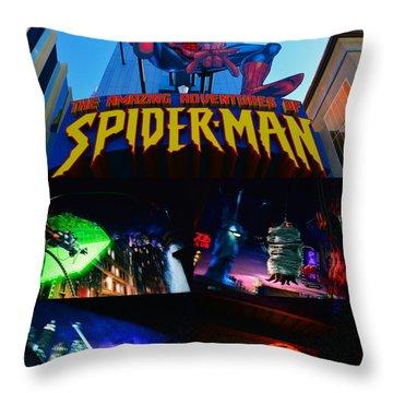 Spider Man Ride Poster A Throw Pillow