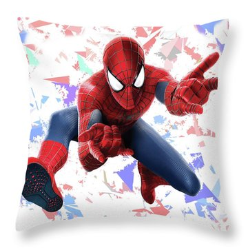Throw Pillow featuring the mixed media Spider Man Splash Super Hero Series by Movie Poster Prints