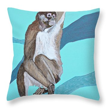 Spider Monkey Throw Pillow by Jamie Downs