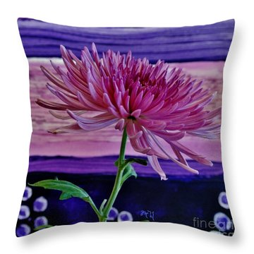 Throw Pillow featuring the photograph Spider Mum With Abstract by Marsha Heiken