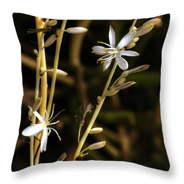 Spider Plant Blossoms Throw Pillow