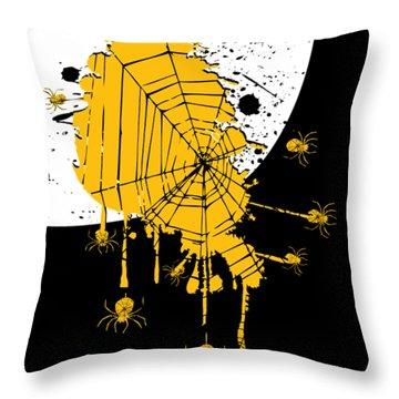 Spider Web Halloween Dark Art Throw Pillow