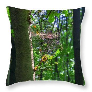 Spider Web In A Forest Throw Pillow