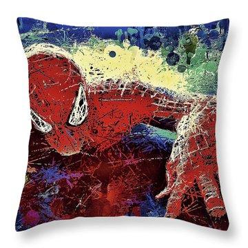 Spiderman Climbing  Throw Pillow