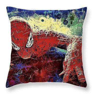 Spiderman Climbing  Throw Pillow