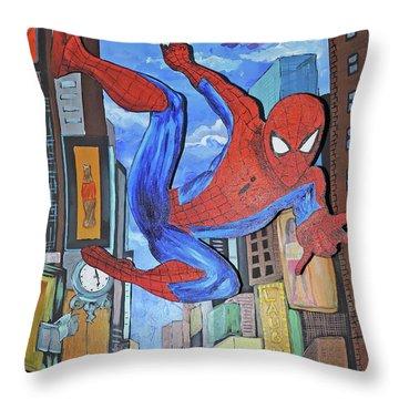 Spiderman Swings Throw Pillow
