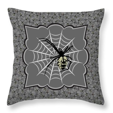 Spiders And Webs, Gray And Black Throw Pillow