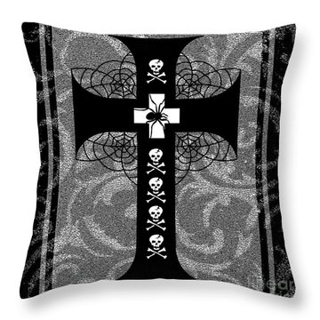 Spiderweb Skull Cross Throw Pillow by Roseanne Jones