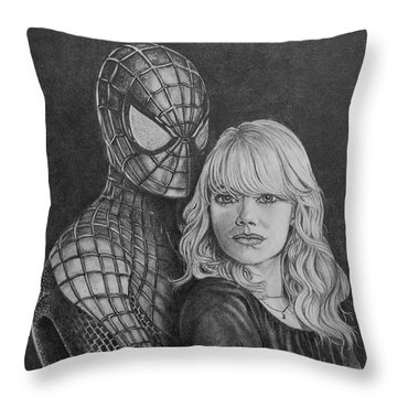 Spidey And Gwen Throw Pillow