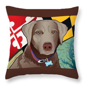 Spike, The Maryland Silver Lab Throw Pillow