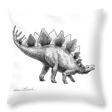 Spike The Stegosaurus - Black And White Dinosaur Drawing Throw Pillow by Karen Whitworth