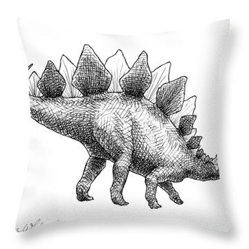 Stegosaurus - Dinosaur Decor - Black And White Dino Drawing Throw Pillow