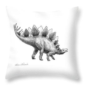 Stegosaurus - Dinosaur Decor - Black And White Dino Drawing Throw Pillow