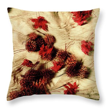 Spiked Nuts Red Throw Pillow