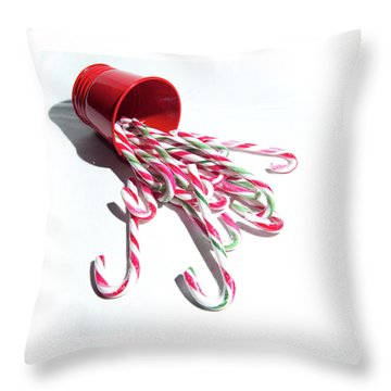 Spilled Candy Canes Throw Pillow