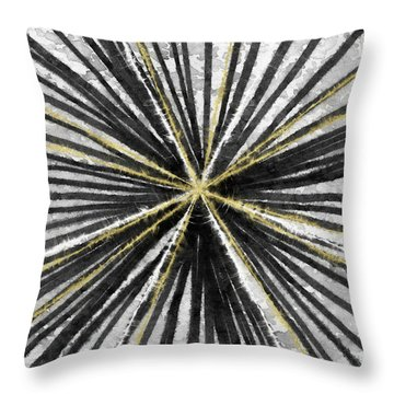 Spinning Black And Gold- Art By Linda Woods Throw Pillow