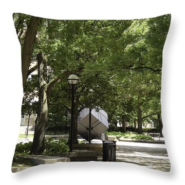 Spinning Cube On Campus Throw Pillow