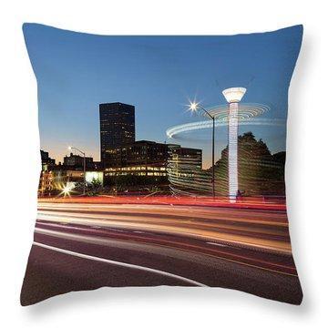 Spinning Swing Chair Carnival Rides Long Exposure Throw Pillow