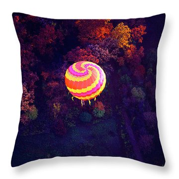 Spiral Colored Hot Air Balloon Over Fall Tree Tops Mchenry   Throw Pillow