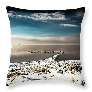 Spiral Jetty In Winter Throw Pillow