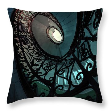 Throw Pillow featuring the photograph Spiral Ornamented Staircase In Blue And Green Tones by Jaroslaw Blaminsky