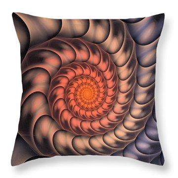 Throw Pillow featuring the digital art Spiral Shell by Anastasiya Malakhova