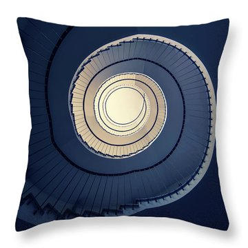 Throw Pillow featuring the photograph Spiral Staircase In Blue And Cream Tones by Jaroslaw Blaminsky