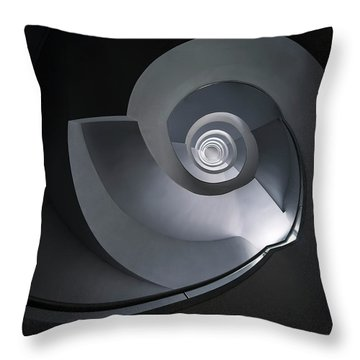 Throw Pillow featuring the photograph Spiral Staircase In Grey And Blue Tones by Jaroslaw Blaminsky