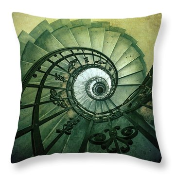 Throw Pillow featuring the photograph Spiral Stairs In Green Tones by Jaroslaw Blaminsky