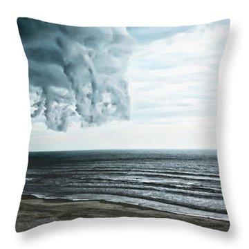 Spiraling Storm Clouds Over Daytona Beach, Florida Throw Pillow