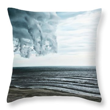 Spiraling Storm Clouds Over Daytona Beach, Florida Throw Pillow