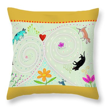 Throw Pillow featuring the digital art Spirals Of Dogs by Marti McGinnis