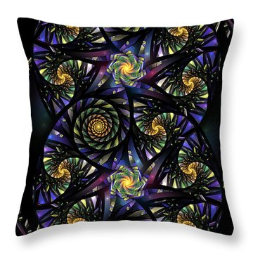 Spirals Of The Night Throw Pillow