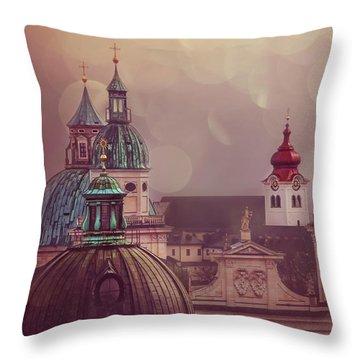 Spires Of Salzburg  Throw Pillow