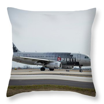 Throw Pillow featuring the photograph Spirit Airlines A319 Airbus N523nk Airplane Art by Reid Callaway