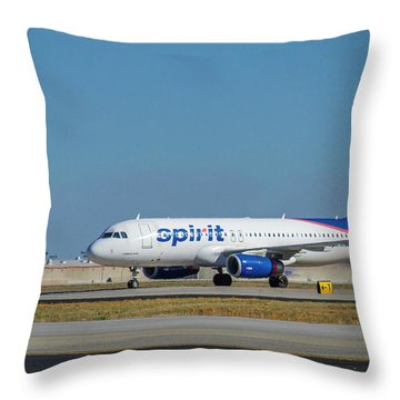 Throw Pillow featuring the photograph Spirit Airlines Airbus A320 N608nk Airplane Art by Reid Callaway