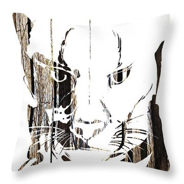 Throw Pillow featuring the painting Spirit Animal . Cougar by John Jr Gholson