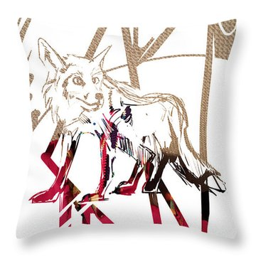 Throw Pillow featuring the painting Spirit Animal . Fox by John Jr Gholson