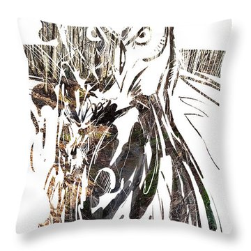 Throw Pillow featuring the painting Spirit Animal . Owl by John Jr Gholson