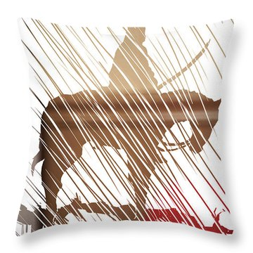 Throw Pillow featuring the painting Spirit Animal . War Horse  by John Jr Gholson