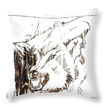 Throw Pillow featuring the painting Spirit Animal . Wolf by John Jr Gholson