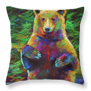 Throw Pillow featuring the painting Spirit Bear by Robert Phelps
