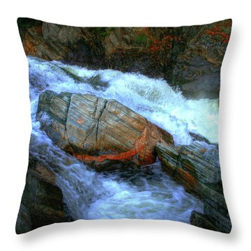 Spirit Boulder At Livermore Falls Throw Pillow