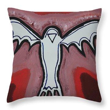 Spirit Crow Original Painting Throw Pillow by Sol Luckman