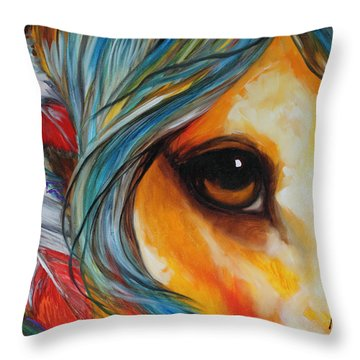 Spirit Eye Indian War Horse Throw Pillow